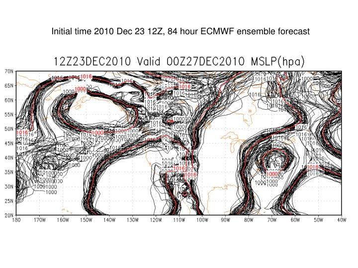 Initial time 2010 Dec 23 12Z, 84 hour ECMWF ensemble forecast