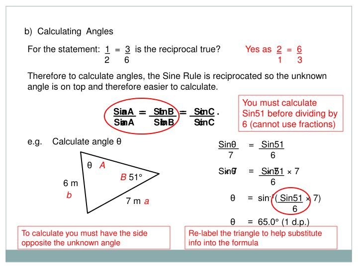 b)  Calculating  Angles