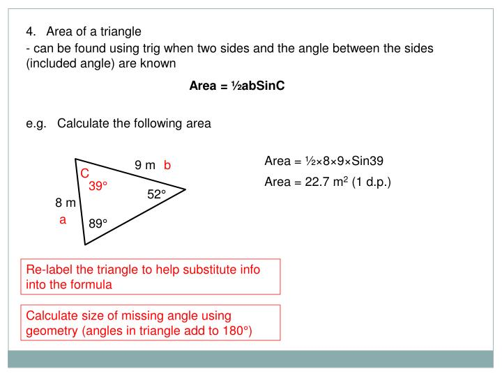 4.   Area of a triangle