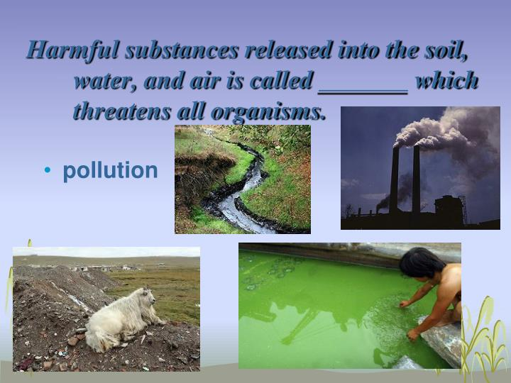 Harmful substances released into the soil, water, and air is called _______ which threatens all organisms.