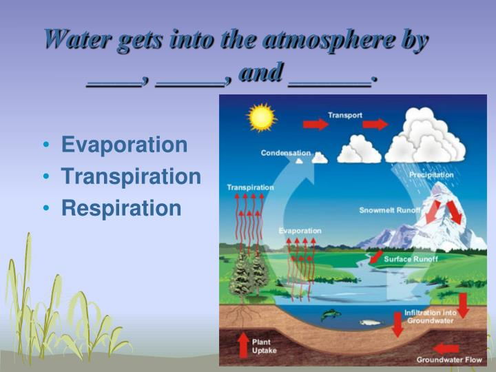 Water gets into the atmosphere by ____, _____, and ______.