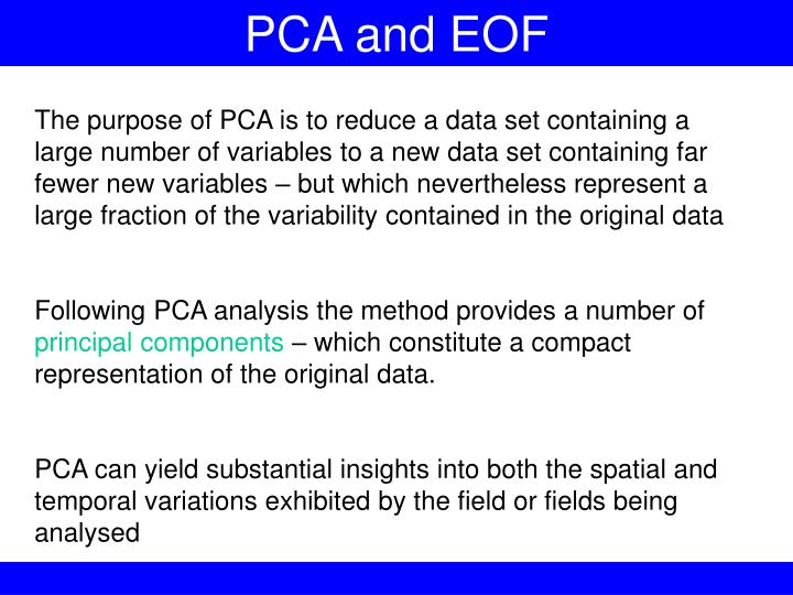 PCA and EOF