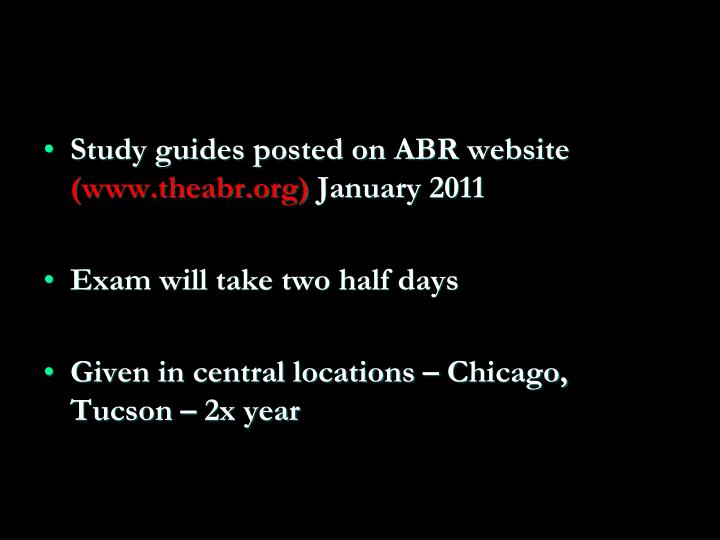 Study guides posted on ABR website