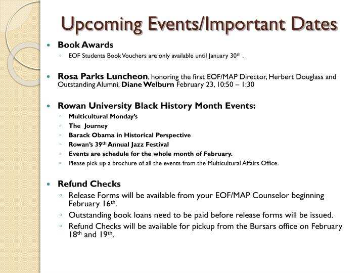 Upcoming Events/Important Dates