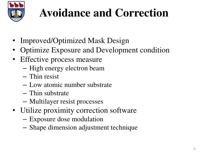 Avoidance and Correction