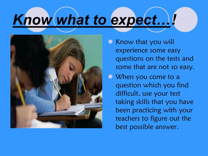 Know what to expect…