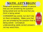 math let s begin