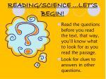 reading science let s begin