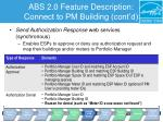 abs 2 0 feature description connect to pm building cont d2