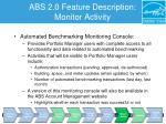 abs 2 0 feature description monitor activity