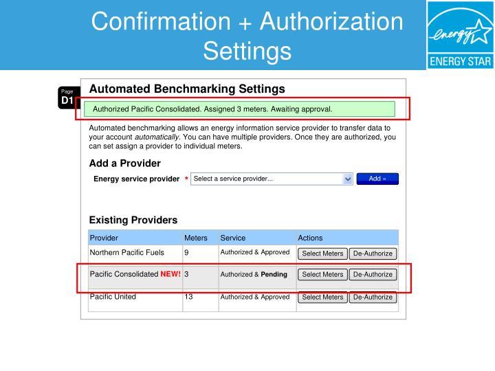 Confirmation + Authorization