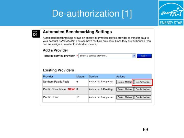 De-authorization [1]