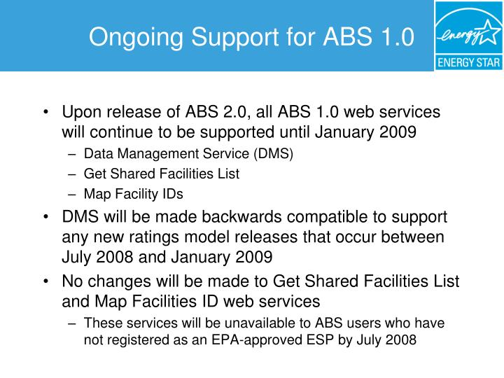 Ongoing Support for ABS 1.0
