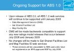 ongoing support for abs 1 0