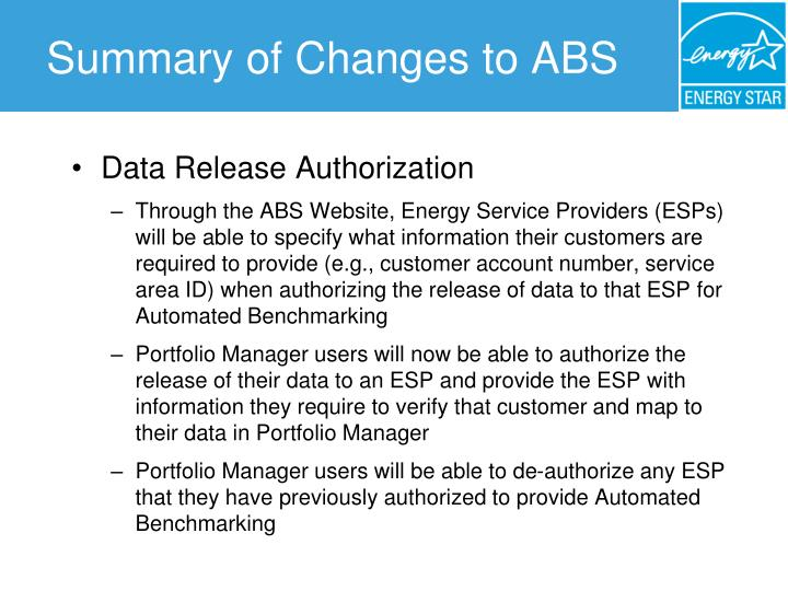 Summary of Changes to ABS