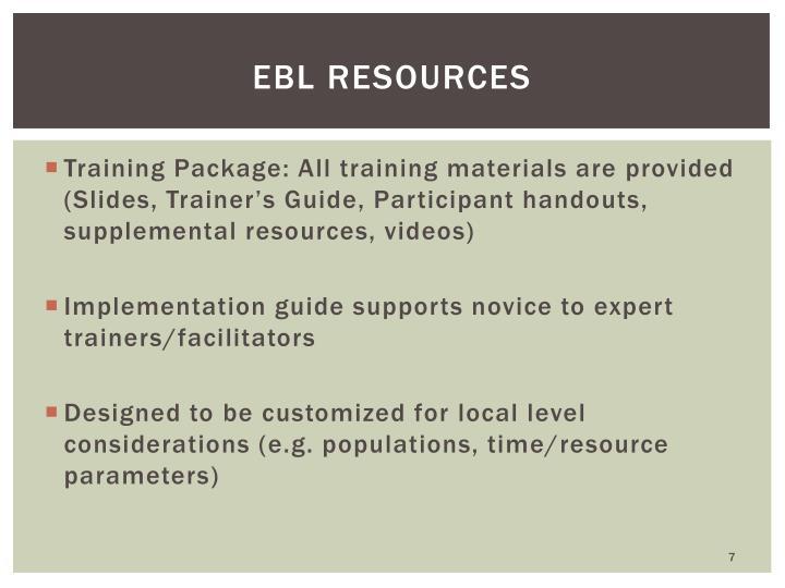 EBL Resources