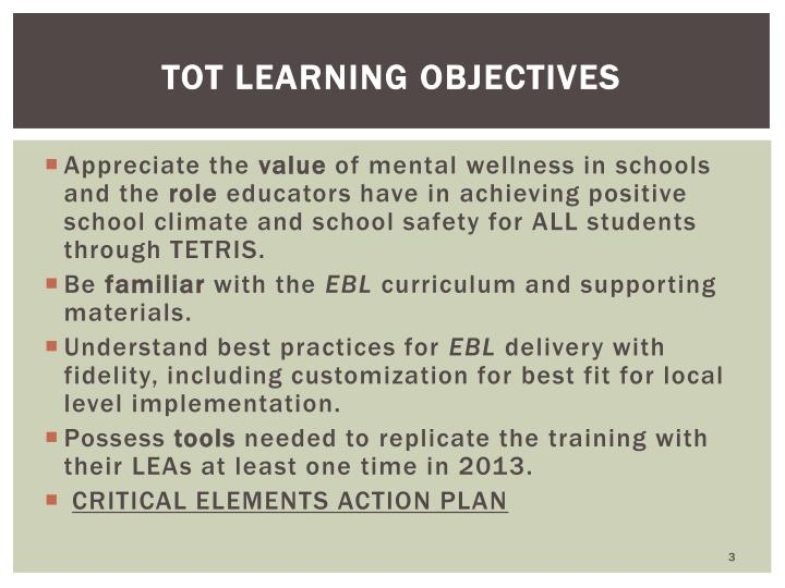 TOT Learning Objectives