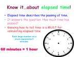 know it about elapsed time