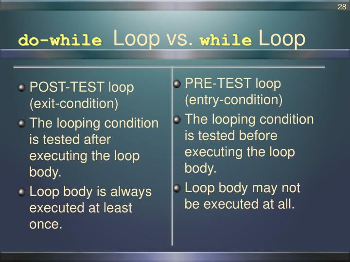 POST-TEST loop (exit-condition)