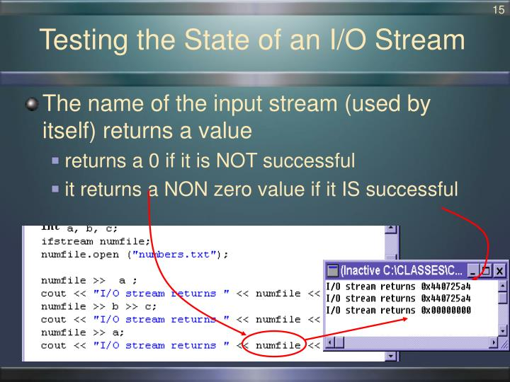 Testing the State of an I/O Stream