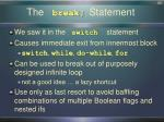 the break statement