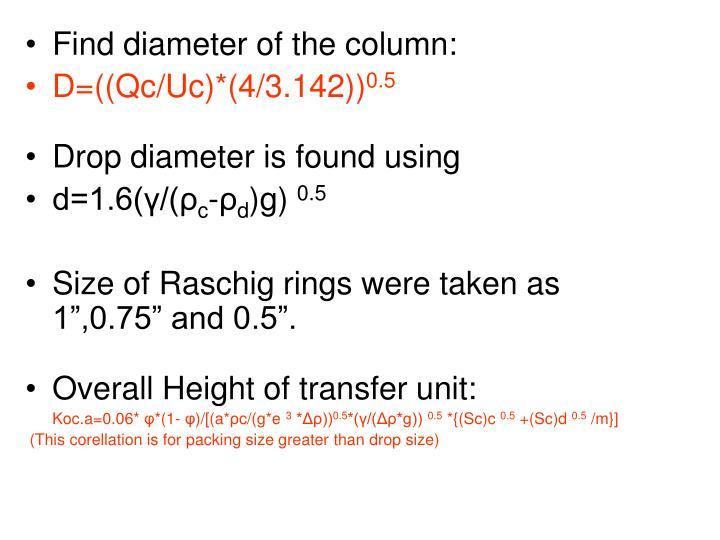 Find diameter of the column: