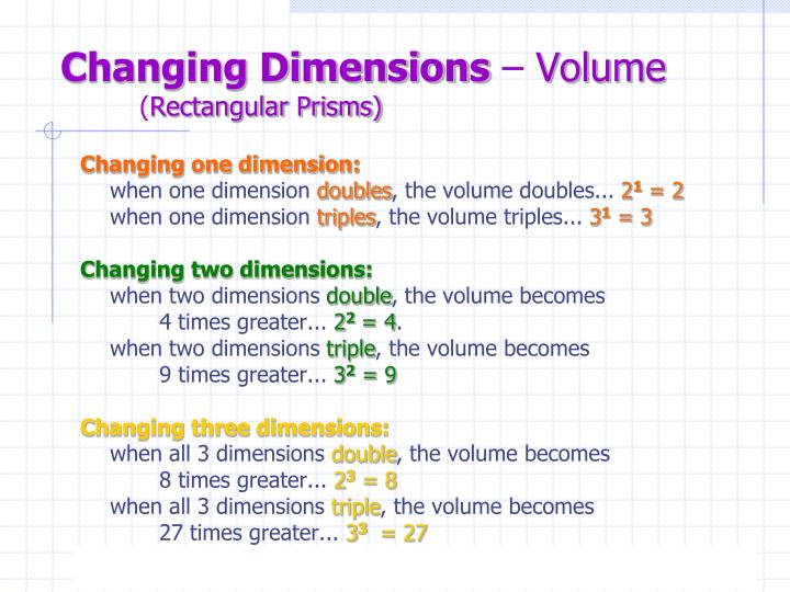 Changing dimensions volume rectangular prisms