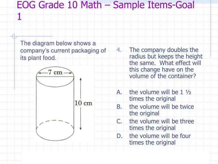 EOG Grade 10 Math – Sample Items-Goal 1