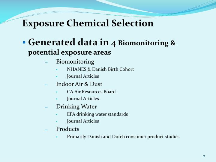 Exposure Chemical Selection