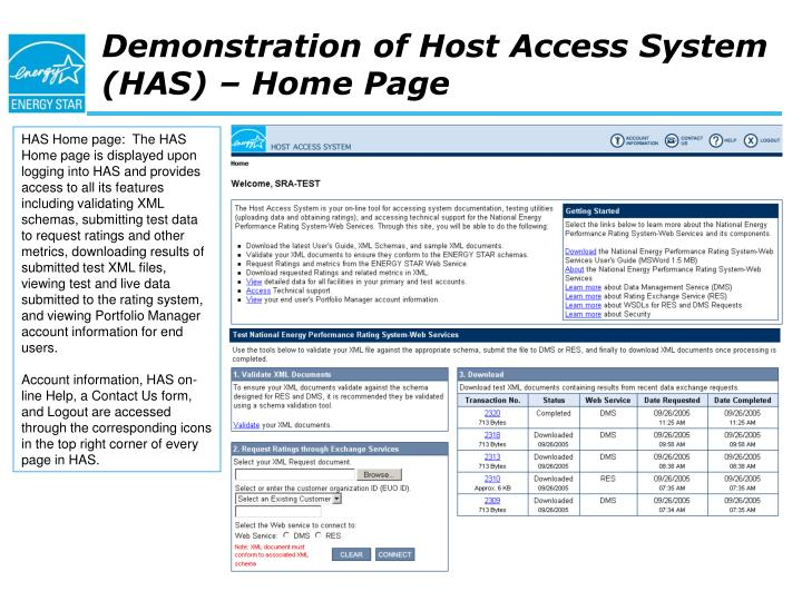Demonstration of Host Access System (HAS) – Home Page