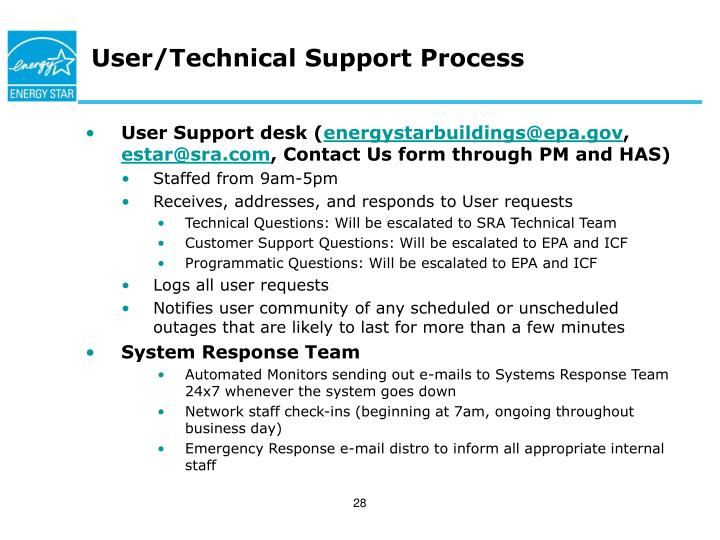 User/Technical Support Process