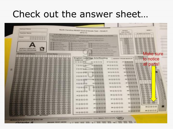 Check out the answer sheet…