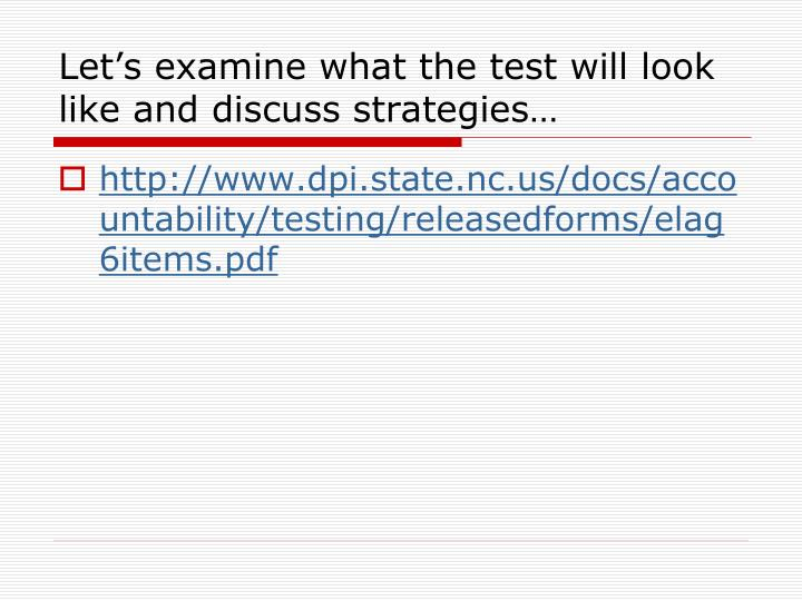 Let's examine what the test will look like and discuss strategies…
