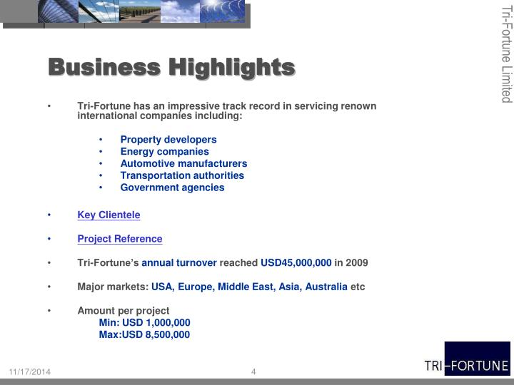 Business Highlights