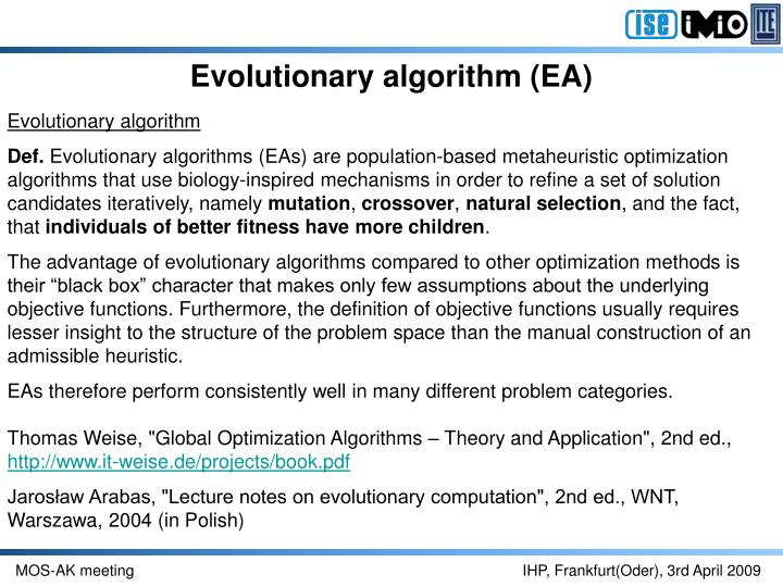 Evolutionary algorithm (EA)