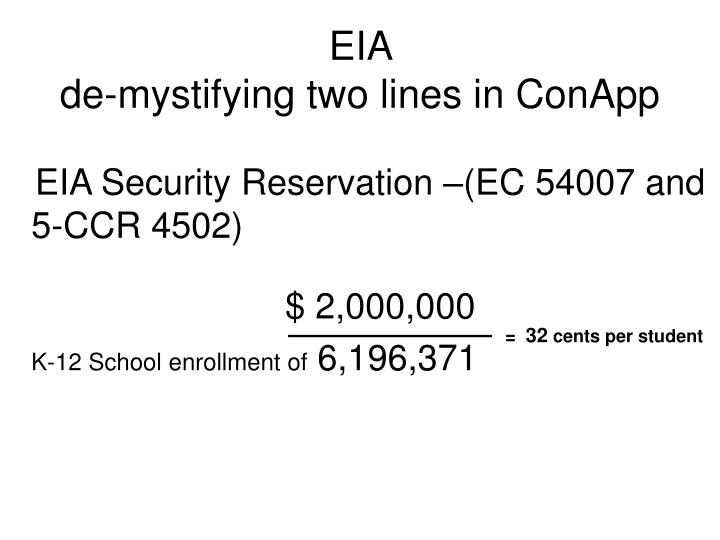 Eia de mystifying two lines in conapp