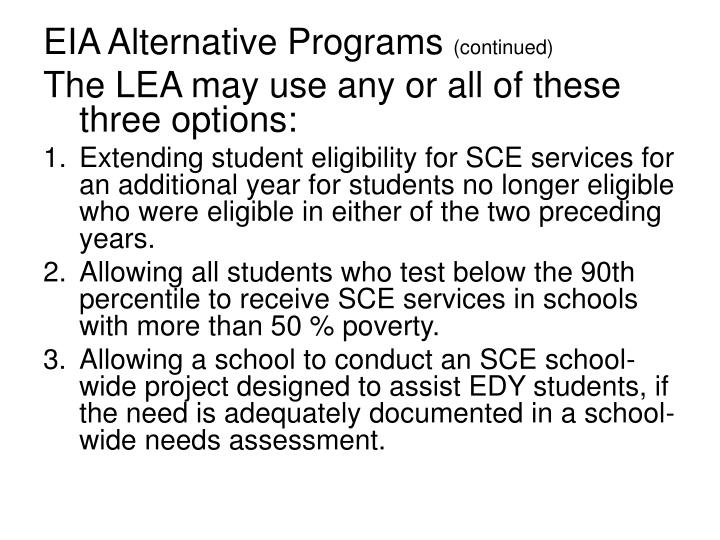 EIA Alternative Programs