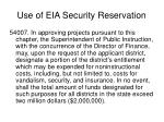 use of eia security reservation