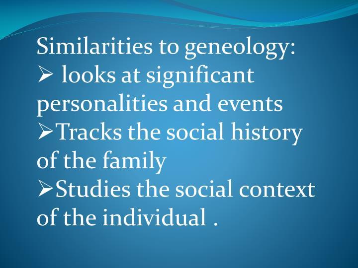 Similarities to geneology: