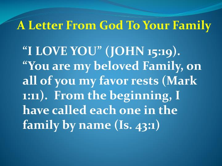 A Letter From God To Your Family