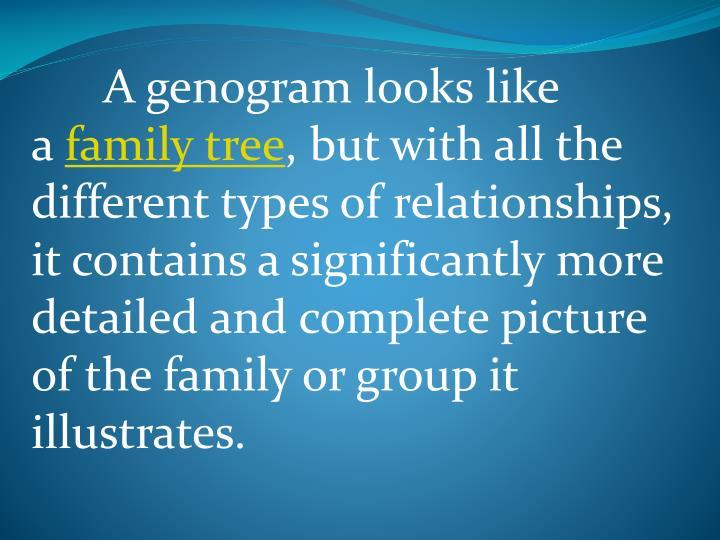 A genogram looks like a