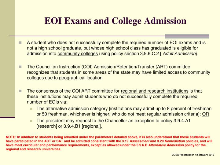 EOI Exams and College Admission