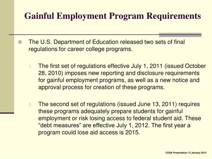 Gainful Employment Program Requirements