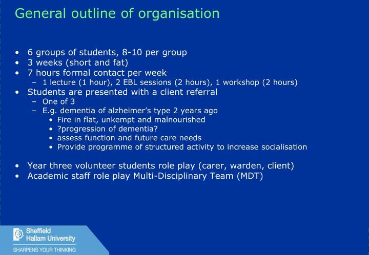 General outline of organisation