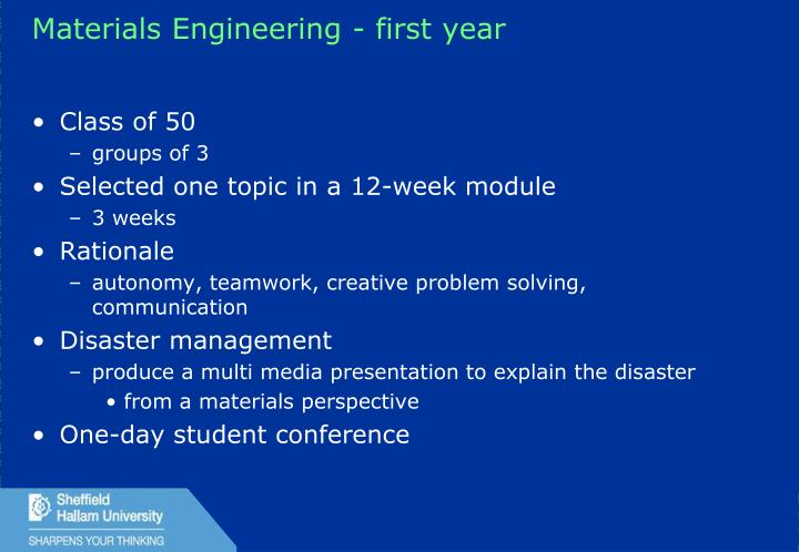 Materials Engineering - first year
