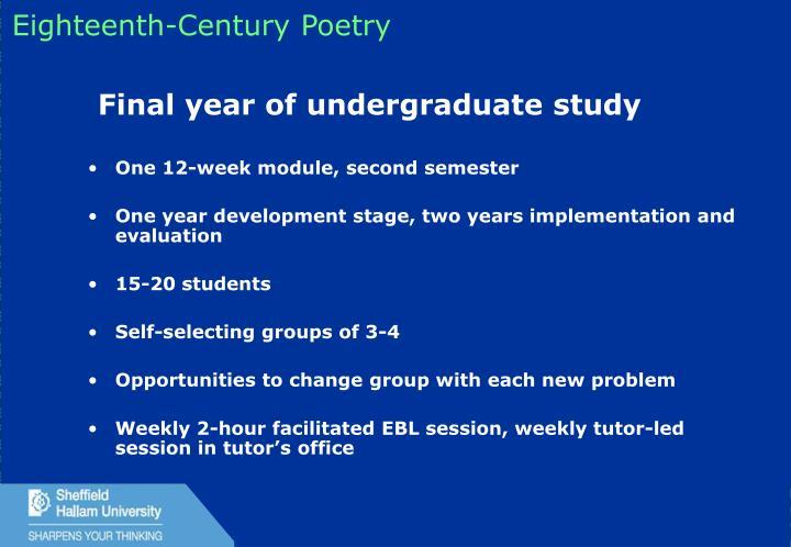 One 12-week module, second semester