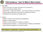 csa guidance how to make it most useful