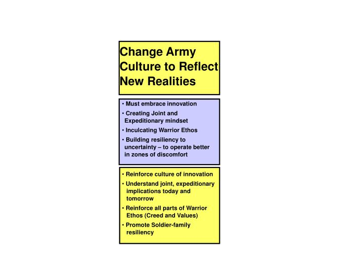 Change Army Culture to Reflect New Realities