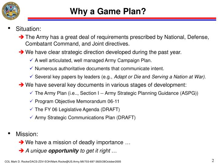 Why a game plan