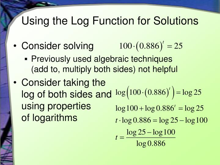 Using the Log Function for Solutions